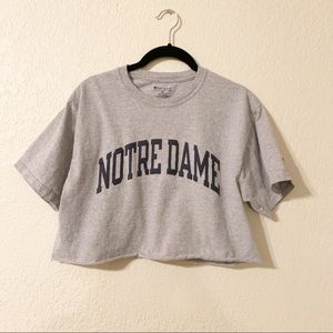 Champion Notre Dame grey cropped tee
